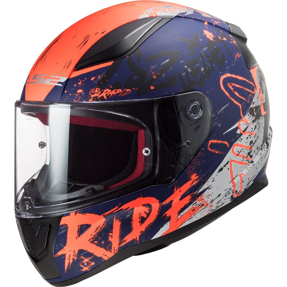 Kaciga LS2 Full Face FF353 RAPID NAUGHTY mat plavo narandžasta XL