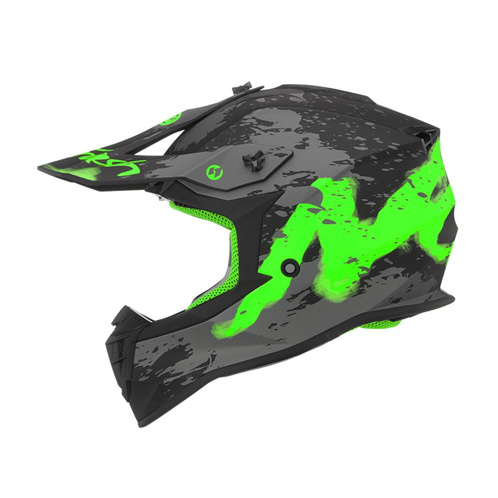 Kaciga NOX Cross 633 TRASH mat crno zelena XL